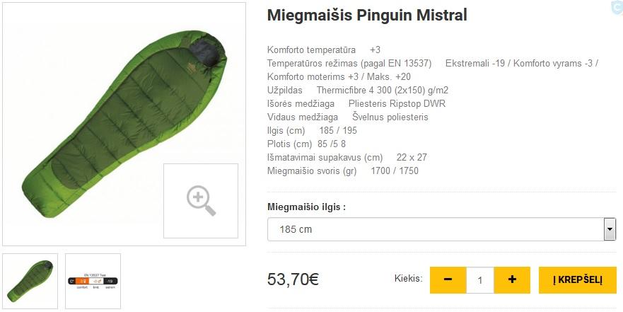 Miegmaišis Pinguin Mistral