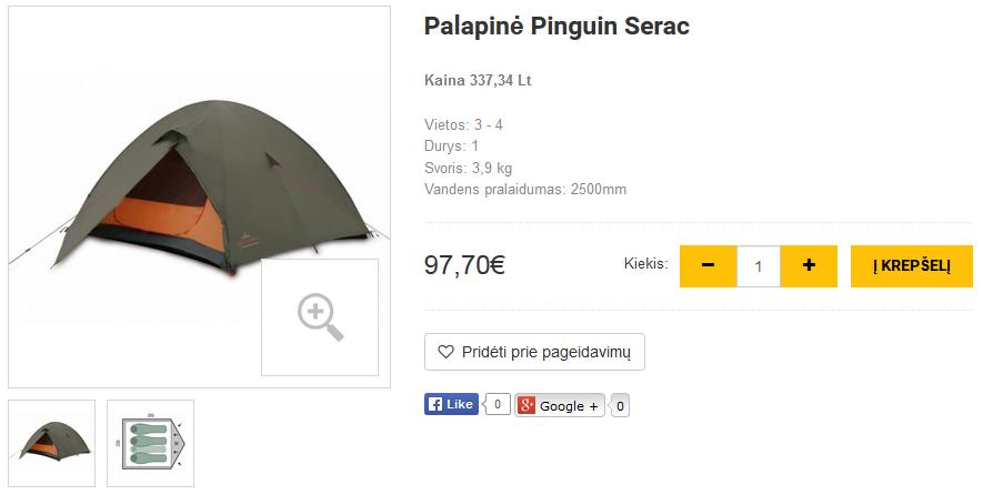 Palapinė Pinguin Serac