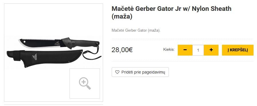 Mačetė Gerber Gator Jr w/ Nylon Sheath (maža)