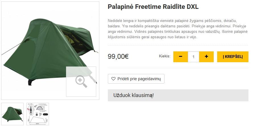 Palapinė Freetime Raidlite DXL