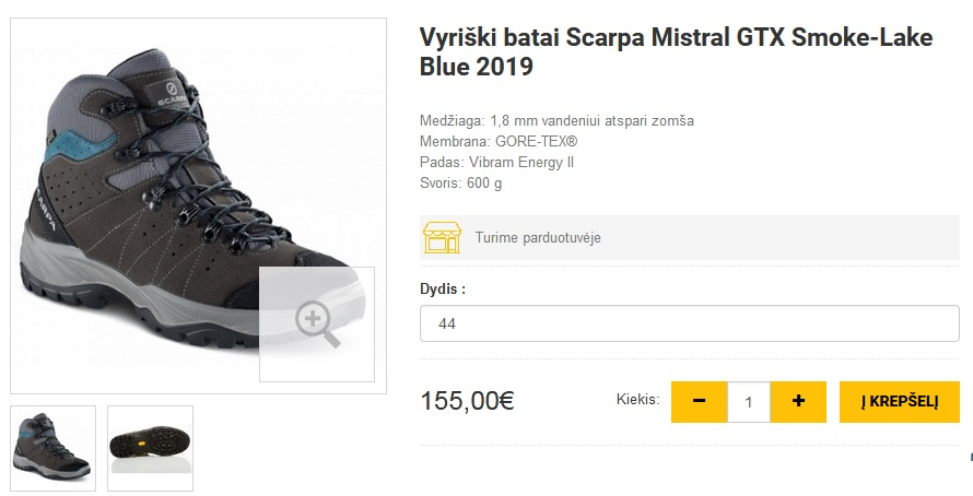 Vyriški batai Scarpa Mistral GTX Smoke-Lake Blue 2019