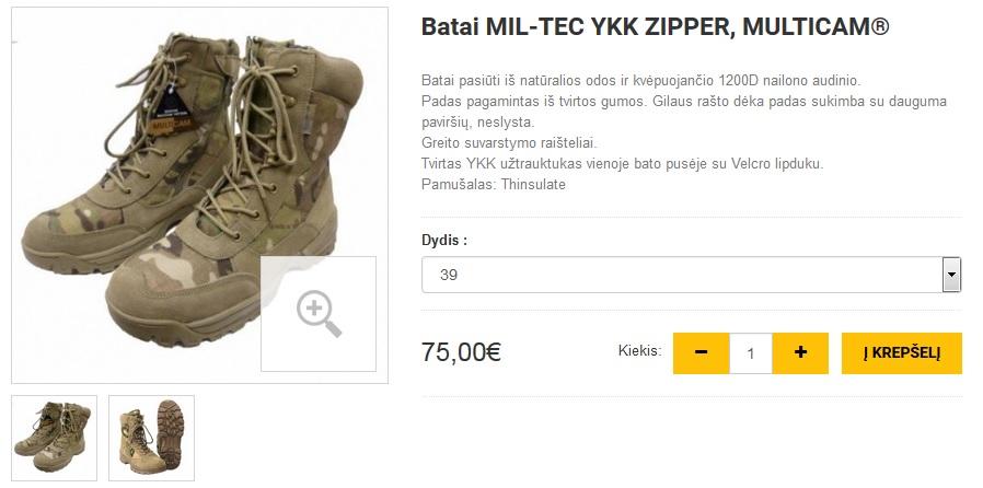 Batai MIL-TEC YKK ZIPPER, MULTICAM