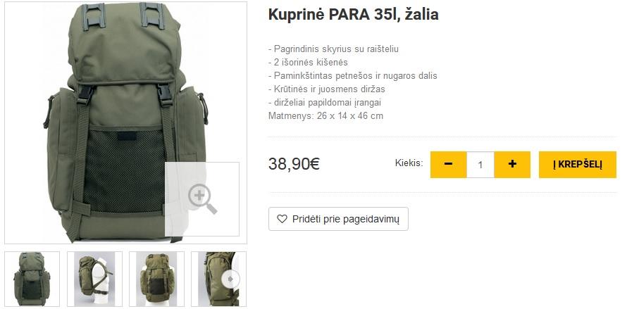 Kuprinė PARA 35l, žalia