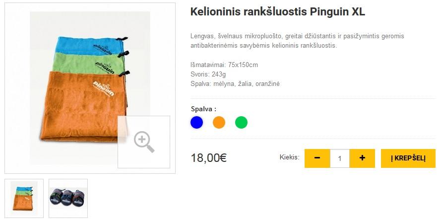 Kelioninis rankšluostis Pinguin XL