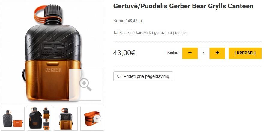 Gertuvė/Puodelis Gerber Bear Grylls Canteen
