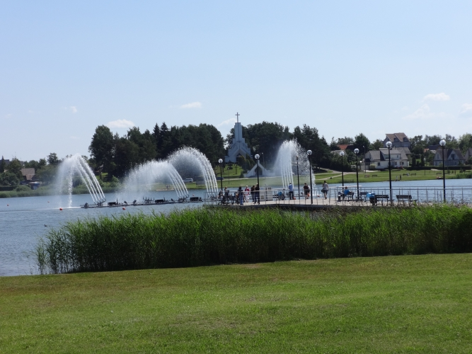 Dauniškio ežero parkas su fontanu