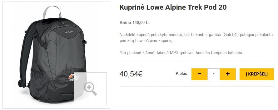 Kuprinė Lowe Alpine Trek Pod 20