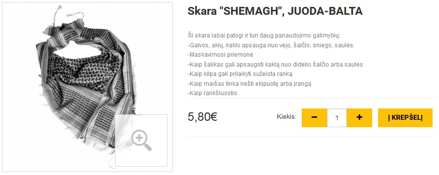 """Skara """"SHEMAGH"""", JUODA-BALTA"""