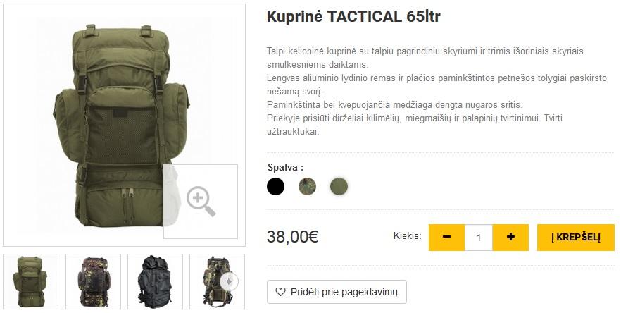 Kuprinė TACTICAL 65ltr