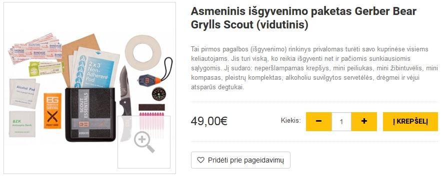 Asmeninis išgyvenimo paketas Gerber Bear Grylls Scout (vidutinis)