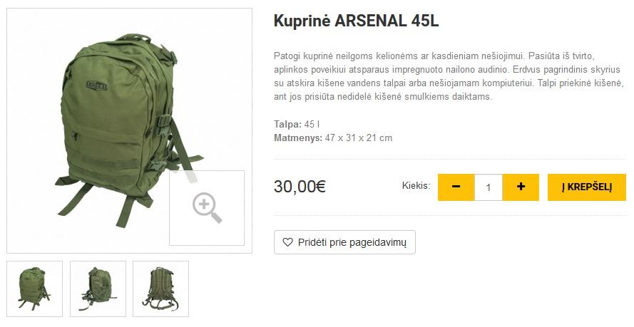 Kuprinė ARSENAL 45L
