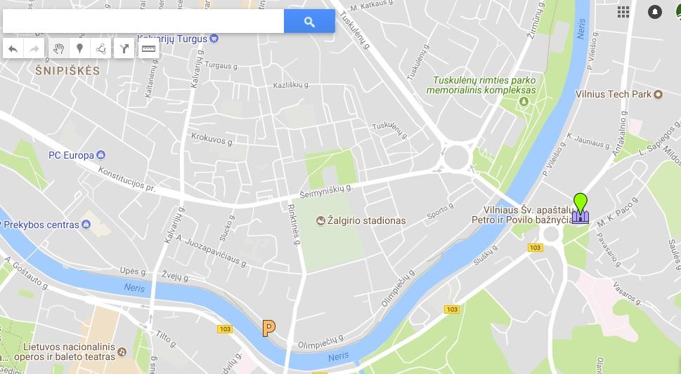 Petro ir Povilo bažnyčia žemėlapis