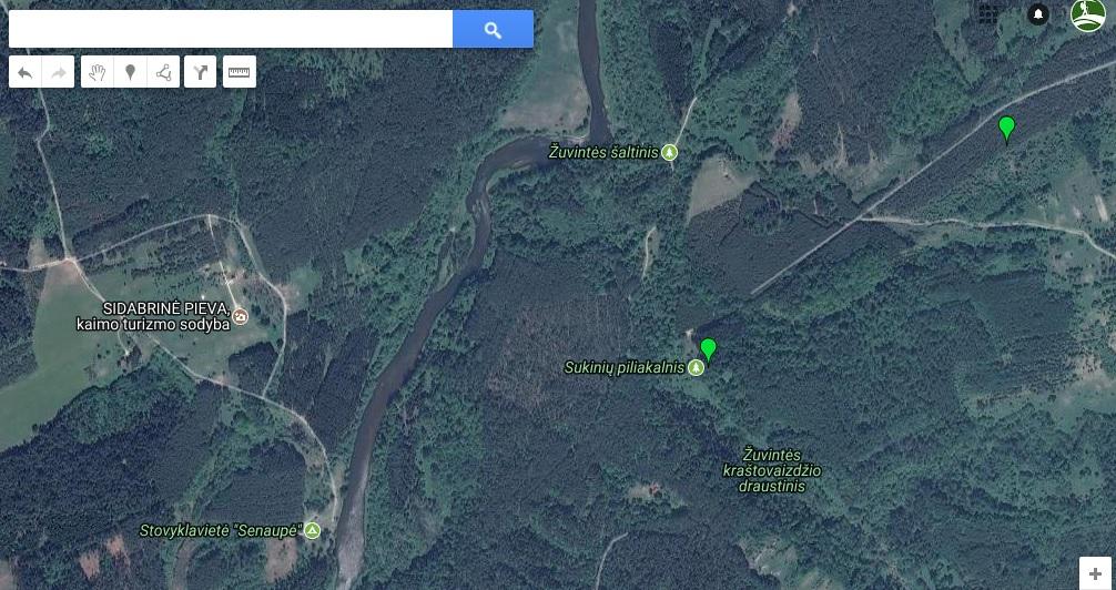 Sukinių piliakalnis - žemėlapis