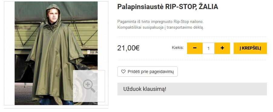 Palapinsiaustė RIP-STOP, ŽALIA