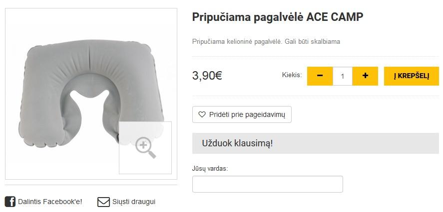 Pripučiama pagalvėlė ACE CAMP