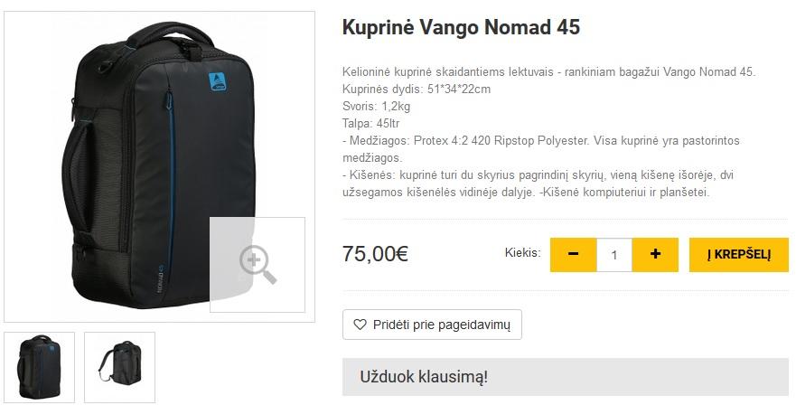 Kuprinė Vango Nomad 45