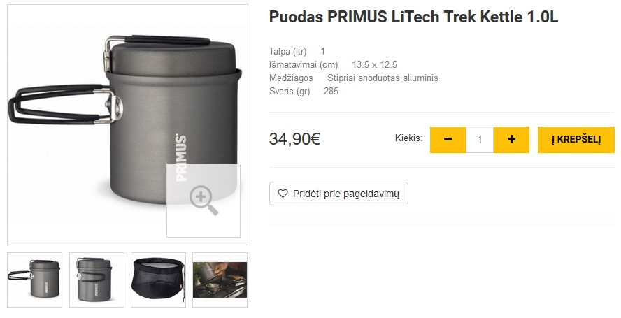Puodas PRIMUS LiTech Trek Kettle 1.0L