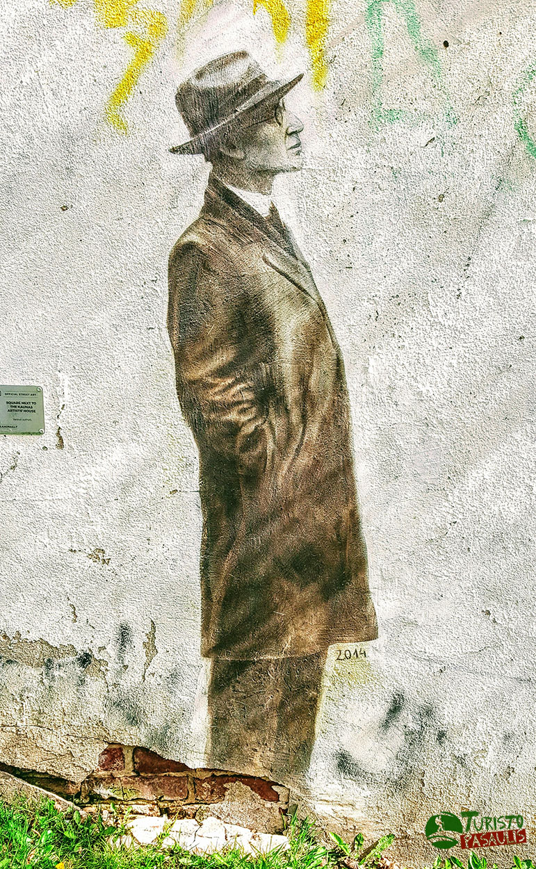 Graffiti Kaunas Vyras su skrybėle