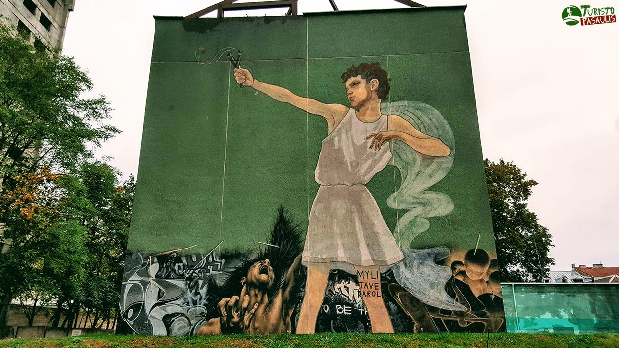 Kaunas graffiti Berniukas su laidyne