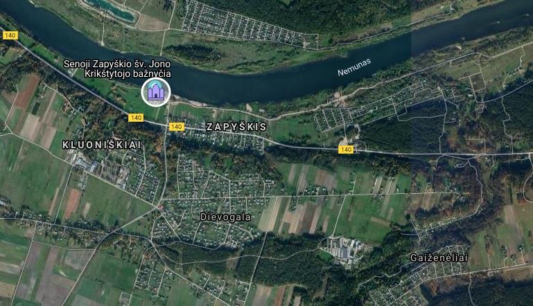 Zapyškio bažnyčia žemėlapis